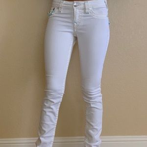White True Religion Jeans with blue stitch Size 24